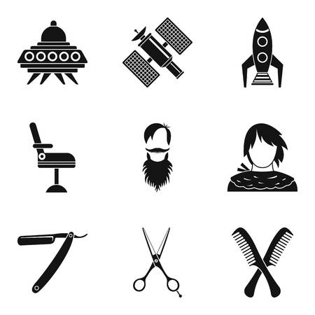 National staff icons set, simple style Vector illustration.