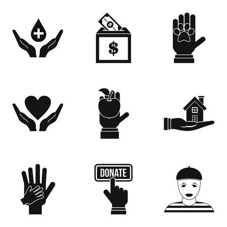 Local employee icons set, simple style Vector illustration.