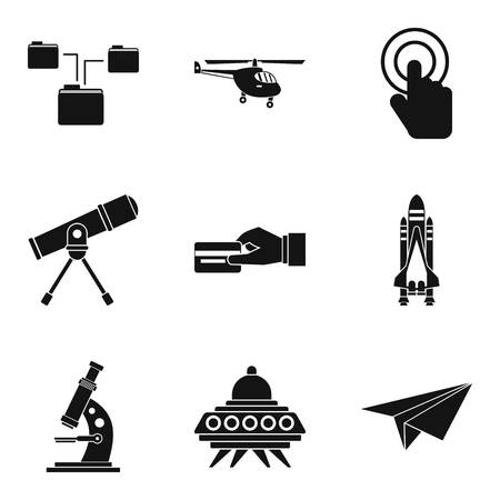 Wireless communication technology icons set, simple style