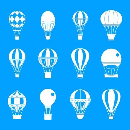 Ilustración de Air ballon icon set. Simple set of air ballon vector icons for web design isolated on blue background - Imagen libre de derechos