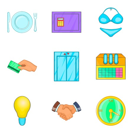 Business meeting icons set, cartoon style.