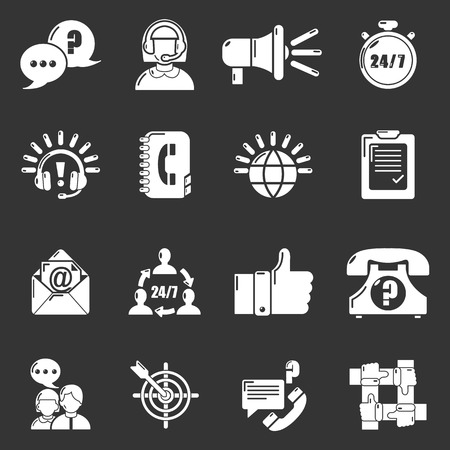 Call center icons set gray  vector