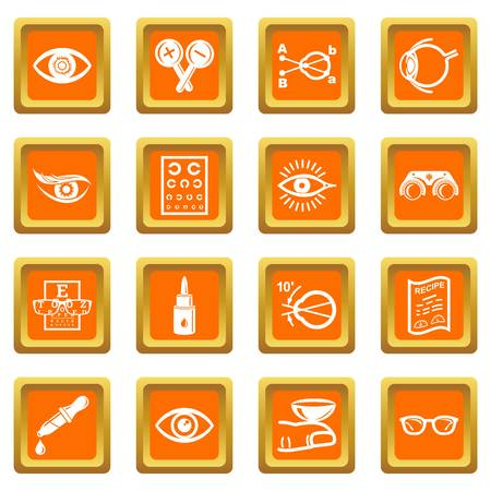 Ophthalmologist icons set vector orange square isolated on white background