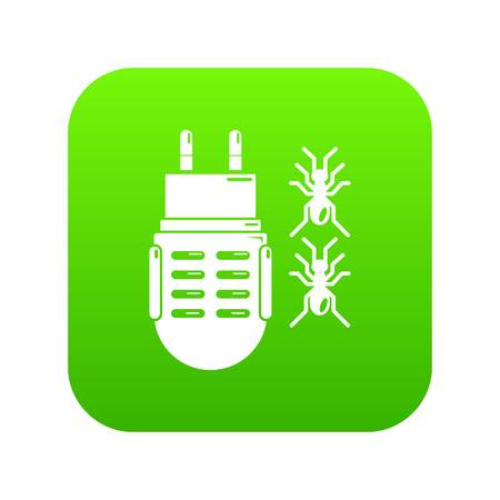 Electric mosquito icon green vector isolated on white background