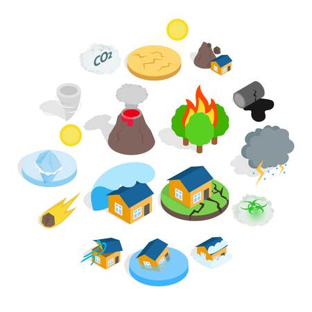 Ilustración de Natural disaster catastrophe icons set in isometric 3d style. Vector illustration - Imagen libre de derechos