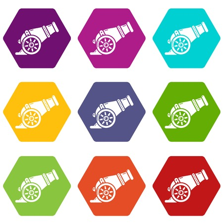 Fire gun icons in 9 colorful set.