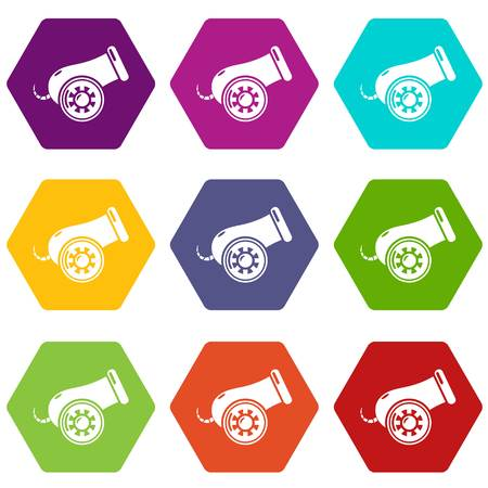 Cannon icons in 9 colorful set.