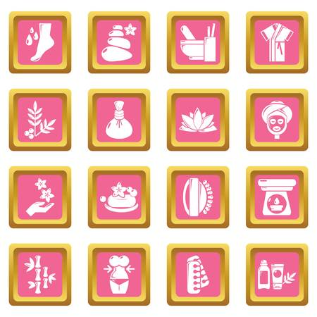 Spa salon icon set on pink squares