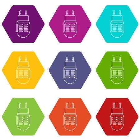 Electric mosquito icons set 9 vector