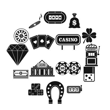 Casino icons set, simple style