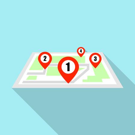 Illustration pour Four map pin icon, flat style - image libre de droit