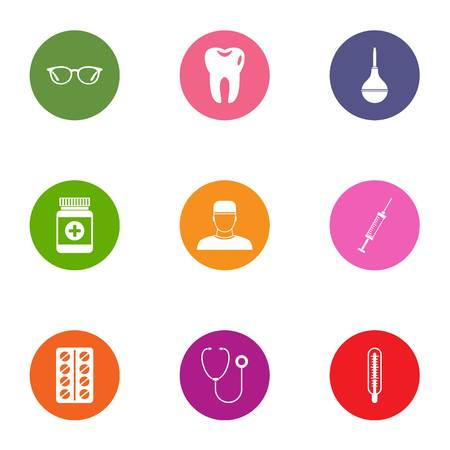 Medical intervention icons set, flat style