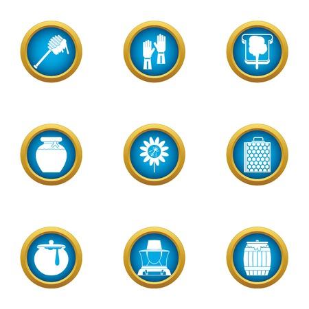 Honey business icons set, flat style