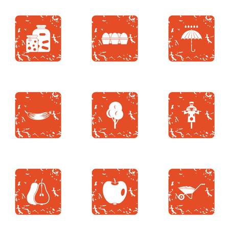Natural environment icons set, grunge style