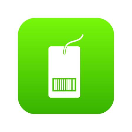 Tag with bar code icon digital green
