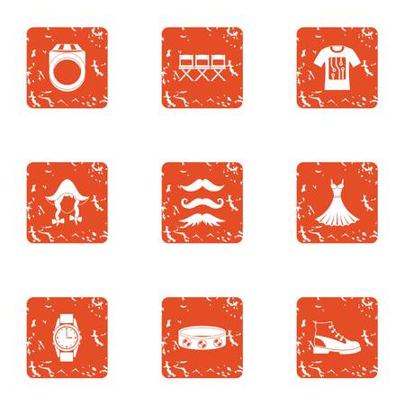 Contemporary person icons set, grunge style