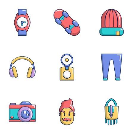 Street life icons set, cartoon style