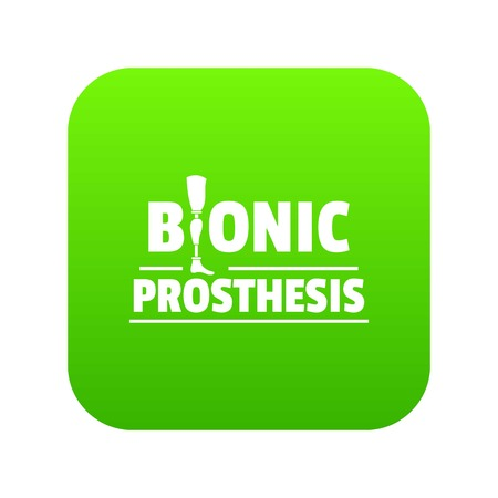Bionic prosthesis icon green vector