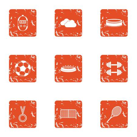 Illustration pour Sport centre icons set. Grunge set of 9 sport centre vector icons for web isolated on white background - image libre de droit