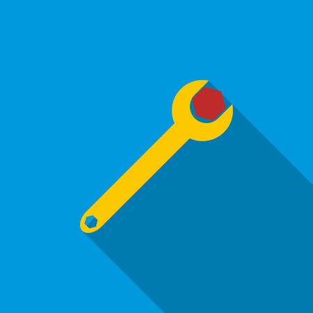 Spanner tool with screw nut icon in flat style on a blue background