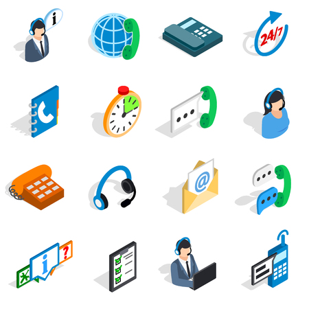Call center icons in isometric 3d style. Phone service set collection isolated illustration