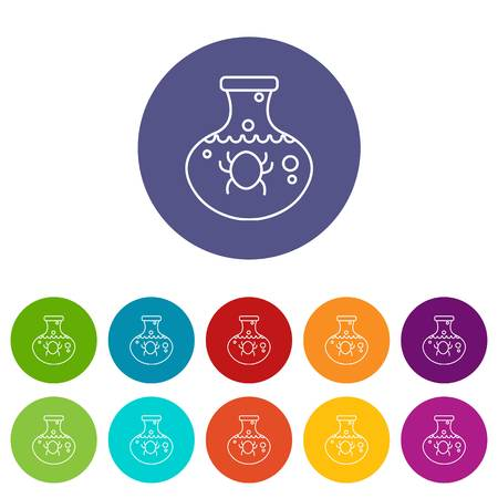 Chemical bug icons color set vector for any web design on white background