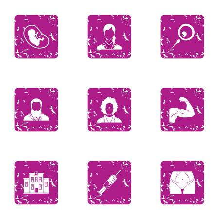 Exercise icons set. Grunge set of 9 exercise vector icons for web isolated on white background