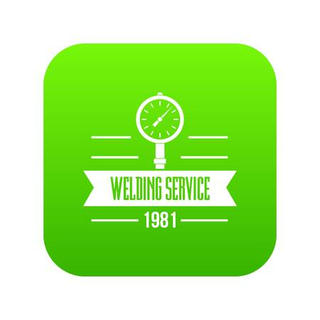 Welding service icon green vector