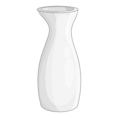 White vase icon, cartoon style