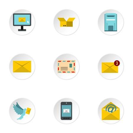 E-mail icons set, flat style