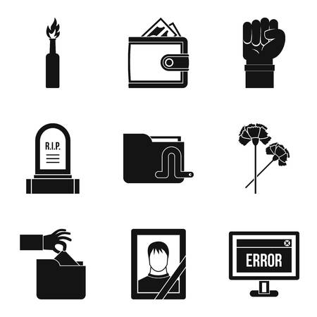 Military action icons set. Simple set of 9 military action icons for web isolated on white background