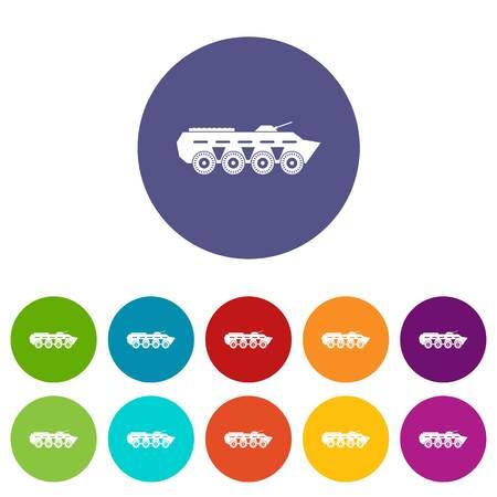 Army battle tank set icons