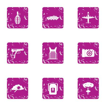 Disembarkation icons set, grunge style