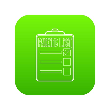 Packing list icon green vector isolated on white background