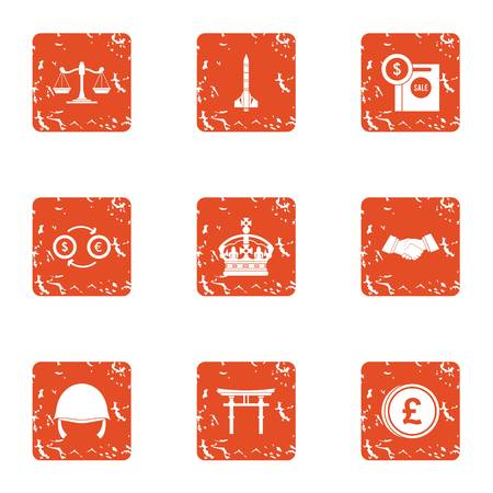 Crown money icons set. Grunge set of 9 crown money vector icons for web isolated on white background
