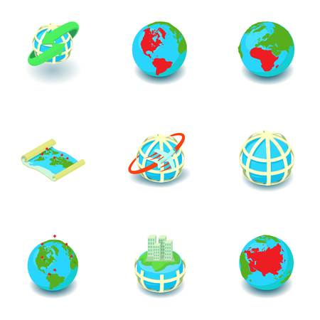 Business worldwide icons set. Isometric set of 9 business worldwide vector icons for web isolated on white background
