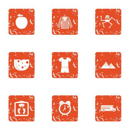 Matter icons set. Grunge set of 9 matter vector icons for web isolated on white background