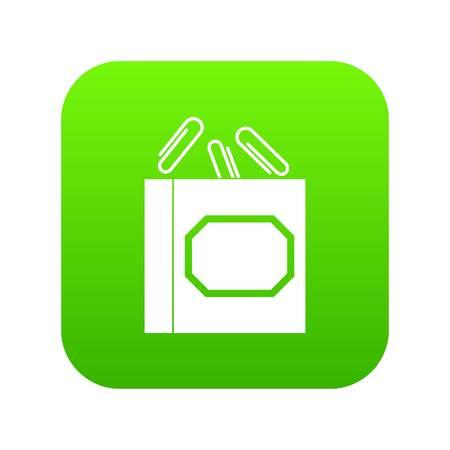 Ilustración de Paper clips box icon digital green for any design isolated on white vector illustration - Imagen libre de derechos