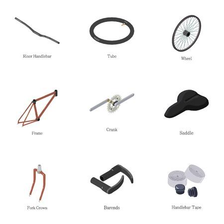 Bike part icons set. Isometric set of 9 bike part vector icons for web isolated on white background