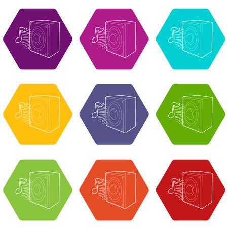 Illustration pour Radio icons set 9 vector - image libre de droit