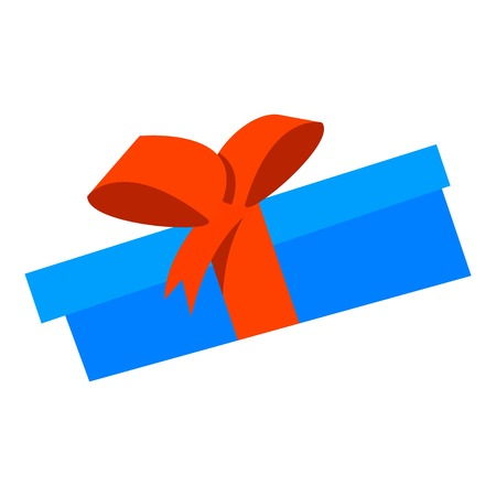 Blue gift box icon, flat style