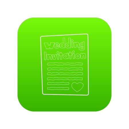 Invitation icon green vector