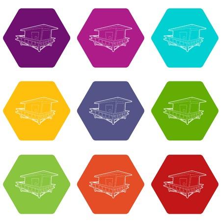 Illustration pour Stilt house icons set 9 vector - image libre de droit