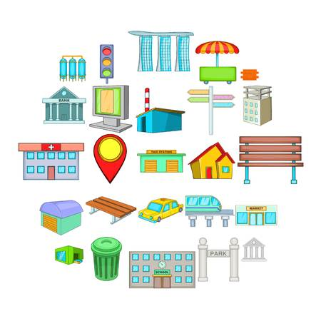 Photo pour Beautiful city icons set. Cartoon set of 25 beautiful city vector icons for web isolated on white background - image libre de droit