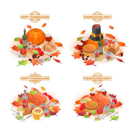 Foto per Thanksgiving day banner set, isometric style - Immagine Royalty Free