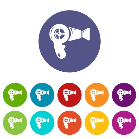 Illustration pour Hair dryer icons color set vector for any web design on white background - image libre de droit