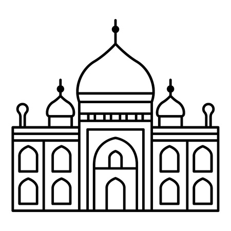 Illustration pour Muslim temple icon. Outline muslim temple vector icon for web design isolated on white background - image libre de droit