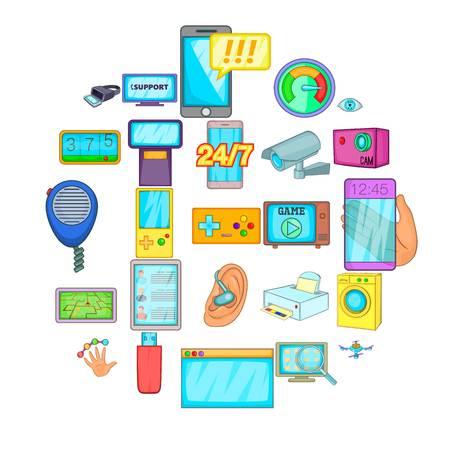 Illustration for Fix the electronics icons set. Cartoon set of 25 fix the electronics vector icons for web isolated on white background - Royalty Free Image