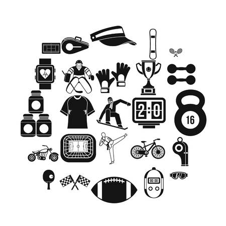 Strong man icons set. Simple set of 25 strong man vector icons for web isolated on white background