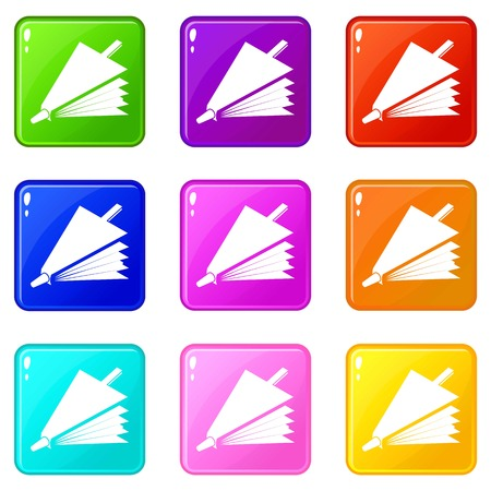 Fire bellows icons set 9 color collection isolated on white for any design